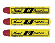 3 Each Red Markal 80222 B Paintstik Solid Paint Marker