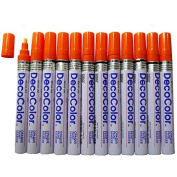 12 Pc Set Orange Decocolor Paint Marker Pens Broad Line Point Glossy Opaque on Metal Wood Glass Stone for Industrial Auto Trade Arts