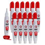 12 Pc Set Red Super Met-Al Fine Tip Paint Marker Pens Squeeze Pump Metal Stone Rubber Plastic Glass for Industrial Auto Arts Trade