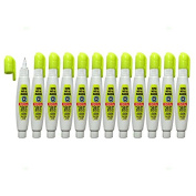 12 Pc Set Neon Yellow Super Met-Al Fine Tip Paint Marker Pens Squeeze Pump Metal Stone Rubber Plastic Glass for Industrial Auto Arts Trade