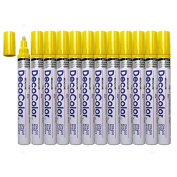 12 Pc Set Yellow Decocolor Paint Marker Pens Broad Line Point Oil Based Glossy Opaque Metal Stone Glass Wood for Industrial Art Auto Trade