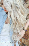 Full Shine 41cm Width 28cm Flip in Remy Human Hair Extension with Fish Line One Piece 80g Colour #60 Light Blonde Halo Hair Extension on Wire Hairpieces
