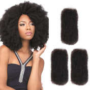 SLEEK 3 Bundles Afro Kinkys Bulk Human Hair (41cm /46cm /50cm , Natural Black) - Afro Twist Braiding Hair - Curly Hair Extensions Human Hair - Afro Bulk Braiding Hair for Dreadlocks - Loc Braiding Hair
