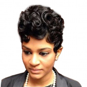 Women Short Curly Brazilian Human Hair (Natural Spiral Curls, Black) - Human Hair Wigs -Short with Capless Wig for Daily & Wedding Wear 20cm