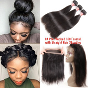 Pizazz Pre Plucked 360 Lace Frontal with Bundles 8A Peruvian Virgin Straight Hair 3 Bundles with 360 Lace Frontal Closure with Baby Hair