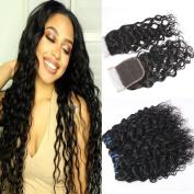 GEM Beauty Brazilian Wate Wave Hair With Closure Wet and Wavy Human Hair Weave Brazilian Virgin Hair Bundles With Closure Water Wave Hair