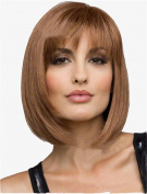 BESTLEE Short Bob Straight Middle Part Wig Cosplay Party Wig with Bangs for Women Light Brown