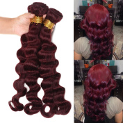 Wome Hair Loose Deep Peruvian Hair Products Extentions Red Wine Colour Deep Wave Virgin Peruvian Remy Hair 99J Burgundy Hair Wefts 3 Bundles 300g