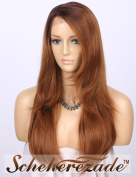 Scheherezade L Shape Deep Part Lace Front Wigs Brown, Long Natural Straight 46cm Glueless Synthetic Wigs Ombre Dark Brown Roots to Light Brown Hair Wig #4/30 Right Side Parting