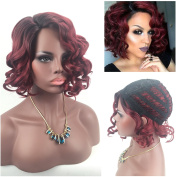 Women's Rose Net Wig, Sexy Fashionable Short Curly Ombre Wig Dark Roots Ombre Wine Red Synthetic Wigs for Black Women (Black Ombre Wine Red) 008RW