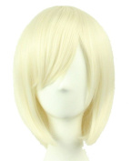 Short Straight Bob Full Wigs with Oblique bangs Wigs Sexy . Cosplay Party Hair Wigs (Beige) 002W