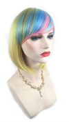 New Chic Colourful Gradient Cosplay Bob Wig with Oblique Bangs Short Straight Synthetic Women's Wigs 007C