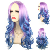 Long Wave Purple Ombre Blue Cosplay Wig Colourful Lolita Style Anime Cosplay Wigs 001A