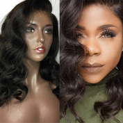 100% Virgin Human Hair Body Wave Full Lace Wig And Frontal Lace Wig Natural Black Colour 150% Density 41cm - 60cm