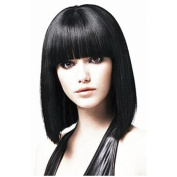 Short Bob Wig For Women With Free Wig Cap Straight Synthetic Wigs Flat Bangs Wig Black Colour Cospaly Wigs
