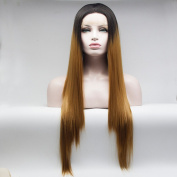 Lanting Hair Two Tone Colour Synthetic Lace Front Wigs for Black Women Heat Resistant Fibre Half Hand Tied Silk Straight Glueless Lace Wig 16-70cm in Stock 70cm
