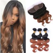 Tony Beauty Hair Brazilian Virgin Auburn Ombre Human Hair 3Bundles With Silk Base Frontal Two Tone 1B/30 Medium Auburn Ombre Silk Top 13x4 Lace Frontal Closure Body Wave