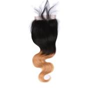 KOAI Ombre Lace Closure 4X4 Free/Midele Part Unprocessed Brazilian Virgin Human Hair Extensions Colour 1b/27 Mixed Length