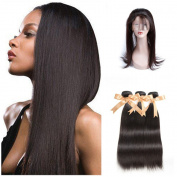 "Sparkle Diva Unprocessed 8a Grade Brazilian Straight Virgin Remy Human Hair 3 Bundles with Pre Plucked 360 Full Lace Frontal Closure 60cm x 10cm x 2"" Can Be Customised"