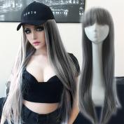 SunshineSusie 70cm New style grey Fashion Long straight women's Girl full Hair Wig cosplay