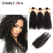 Sparkle Diva 8a Brazilian Kinky Curly Weave Virgin Remy Human hair 3 Bundles With 1 Piece Sexy Three Part Lace Closure 10cm x 10cm Natural Colour 100% Unprocessed Hair Extensions