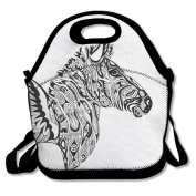 Cool Zebra Wings Flying Lunch Tote Bag Bags Awesome Lunch Handbag Lunchbox Box For School Work Outdoor