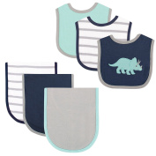 Hudson Baby Bib and Burp Cloth Set, 6 Piece, Dino