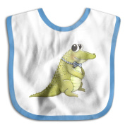 Unisex Baby A Fat Green Crocodile Wears A Bow Tie Soft And Comfortable Cute Bibs