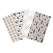 Trend Lab Scandi Cocoa Flannel Burp Cloth Set, 4 Piece