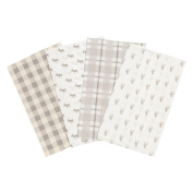 Trend Lab Stag and Moose Flannel Burp Cloth Set, 4 Piece