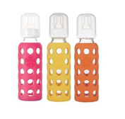 Lifefactory Glass with Silicone 270ml Baby Bottles- Pink, Yellow, Orange 3pk