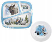 "Disney Frozen Olaf ""I'm An Expert On The Snow!"" BPA-Free Plastic Bowl & Olaf/Sven 3-Section Melamine Plate"