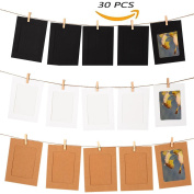 GooGou DIY Paper Photo Frame Wall Deco with Mini Clothespins and String Fits 10cm x 15cm Pictures For Home, Dorm Room, Office