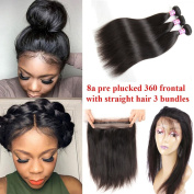 Ossilee Hair Mink Peruvian Hair Straight Pre Plucked 360 Lace Frontal with Bundles 8A Peruvian Straight Hair 360 Lace Frontal Closure with Bundles