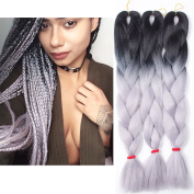 3Pcs/Lot Ombre Kanekalon Grey Braiding Hair Extensions 60cm 100g/pc Twist Synthetic Hair Extensions Gradient Braiding Hair
