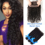 GEFINE Pre Plucked 9A Grade 360 Lace Frontal With Bundle Deep Wave Curly Brazilian Virgin Hair With Frontal Closure 360 Lace Frontal Closure With Bundles 4pcs/Lot Natural Hairline