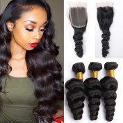 Vinsteen Unprocessed Human Hair Weaves Loose Wave Hair 3 Bundles with 4X4 Free Part Lace Frontal Closure Brazilian Hair Extensions Dyeable 8A Best Quality
