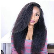 100% Brazilian Virgin Human Hair Wig Natural Black Colour Kinky Straight Full Lace Wig for Black Women