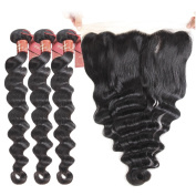 Brazilian Loose Wave 3 Bundles with 13 X 4 Free Part Lace Frontal Closure, Unprocessed Human Hair Extensions Brazilian Virgin Hair Weave Natural Black Colour