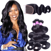 AliBarbara Peruvian Human Hair Body Wave 3 Bundles with Free Part 4x4 Closure 100% 8A Unprocessed Virgin Human Hair Extensions Natural Black Colour Mixed Length