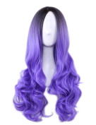 AneShe Ombre Wig Long Wavy 2 Tone Black and Purple Ombre Wig Dark Roots Heat Resistant Fibre Full Wigs for Women