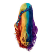 Alacos Rainbow Colour 72cm Long Braid Curly Gothic Lolita Harajuku Anime Cosplay Christmas Costume Wigs for Women +Free Wig Cap