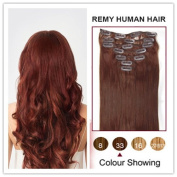 Soucool 41cm Remy (Remi) Human Hair Clip In/on Extensions Dark Auburn(#33)8 Pieces(pcs) [Set Weight:100-120 Grammes]