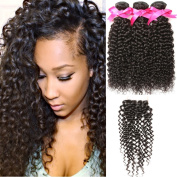 "DSOAR 3 Bundles Brazilian Virgin Curly Hair Weave with Closure 4x4 Free Part Natural Colour-10""12""14""+8"""