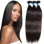"""7A Brazilian Human Remy Hair Bundles 12""""14""""16"""" Straight Unprocessed Hair Weave Extension 3 Bundles/Pack Natural Black Colour"""