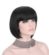 Anxin Short Bob Wig with Bangs Short Black Wigs for Women Student Hairstyle