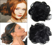 Scrunchy Scrunchie Bun Up Do Hairpiece Hair Ribbon Ponytail Extensions Wavy Curly or Messy Colour#1