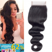 QTHAIR Brazilian Body Wave 4x 4 Free Part lace closure Natural Black Brazilian Virgin Human Hair Closures