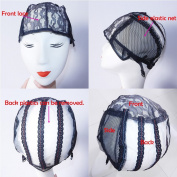XCCOCO 1PCS Adjustable Weaving Cap for Wig Making Medium Size Mesh Lace Wig Cap For DIY Wig Black Colour