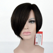 "MyNiceHair--Brazilian Virgin Human Hair Pixie Cut Bob ""L"" Part Lace Front Wigs"